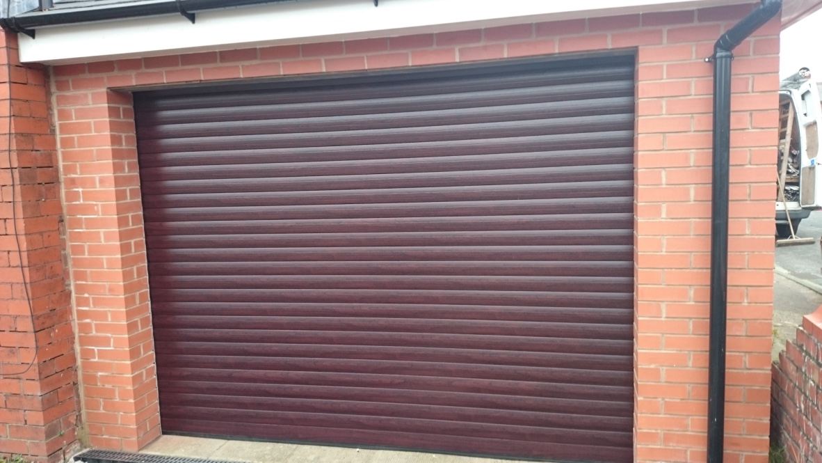 brown roller garage door